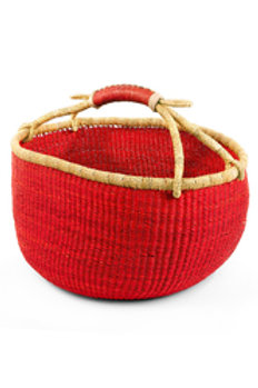Ghanaian Solid Red Bolga Basket w Leather Handle