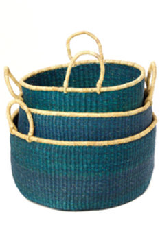Set of Three Teal Woven Grass Floor Baskets