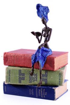 Literate Lady Burkina Bronze Sculpture