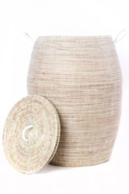 Senegalese Tall White Bongo Hamper Basket