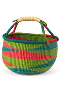 Ghanaian Red & Green Diamond Pattern Bolga Basket