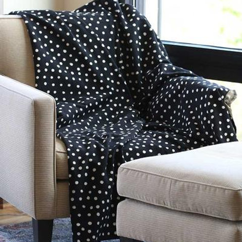 Polka Dotted Black Mud cloth Throw
