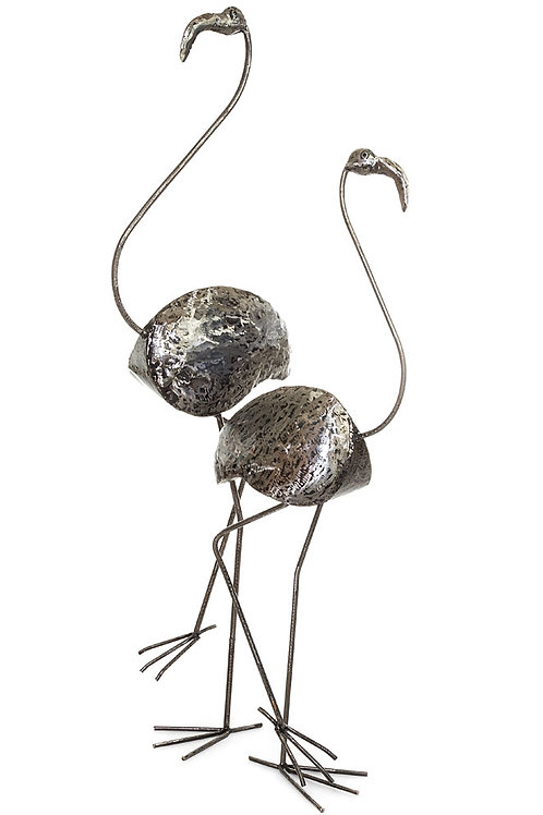 Kenyan Recycled Metal Flamingo Sculptures