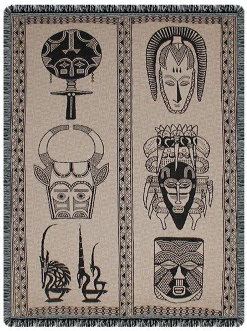 African Masks Tapestry Throw