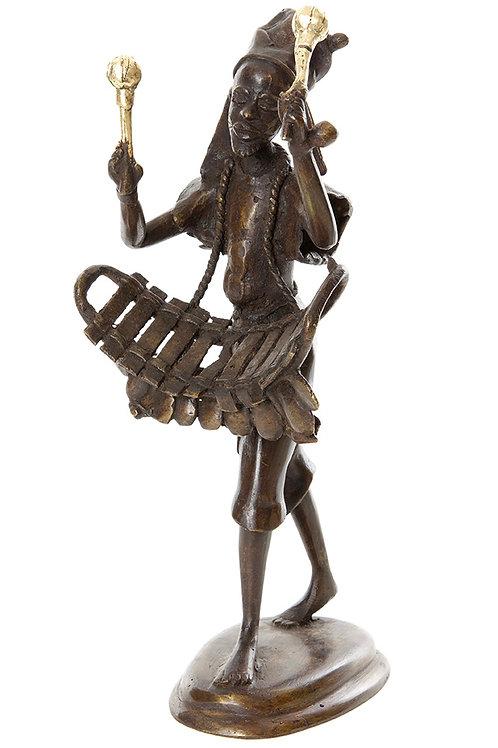 Burkina Bronze Griot Musician with Balaphon Sculpture