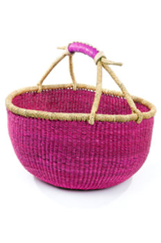 Ghanaian Solid Pink Bolga Basket with Leather Hand