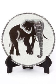 Decorative Round Soapstone Elephant Plates