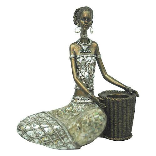 Sitting Lady w Basket  Figurine