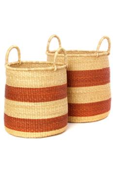 Set of Two Brown Stripe Elephant Grass Baskets