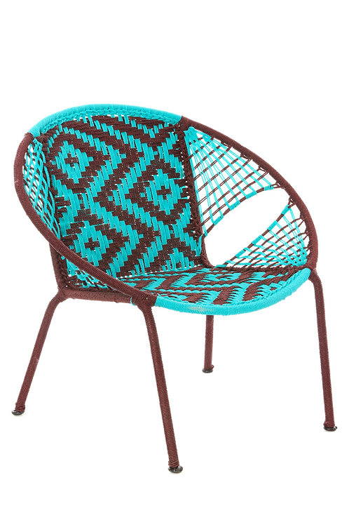 Aqua & Brown Petite Peekaboo Chair