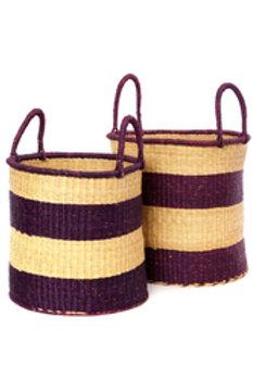 Set of Two Wine Stripe Elephant Grass Baskets