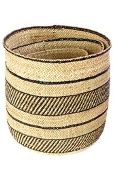 Iringa Baskets with Diagonal Black Stripes