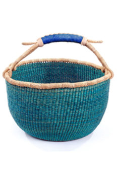 Ghanaian Solid Aqua Bolga Basket with Leather Hand
