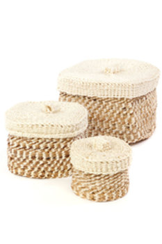 Set of Three Lidded Sisal Containers