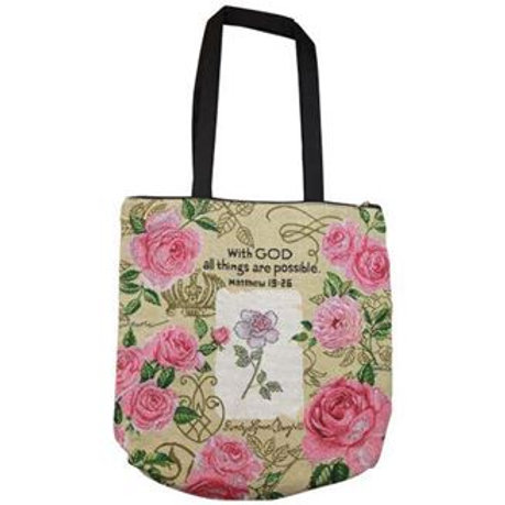 With God Roses Woven Tote Bag