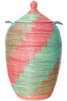 Oversize Silver, Pink & Aqua Twirl Hamper Basket