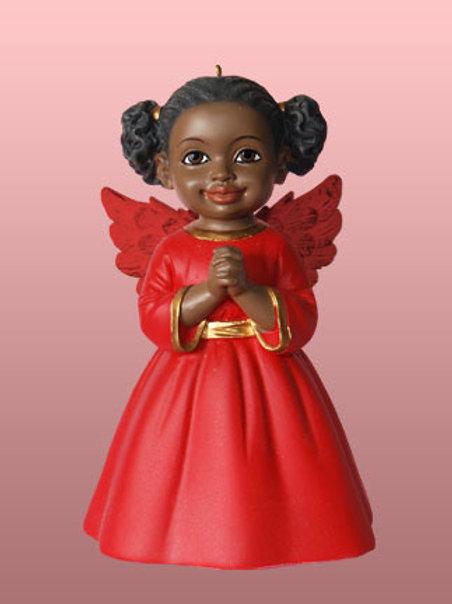 Angel Ornament: Prayer in Red