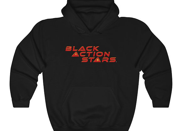 Black Action Stars Hoodie (Red Text)