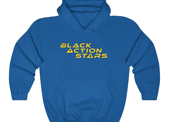 Black Action Stars Hoodie (Gold Text)