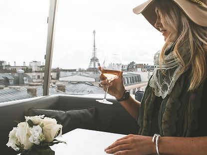 The wanderlovers paris the peninsula hotel lunch eiffel tower rose wine