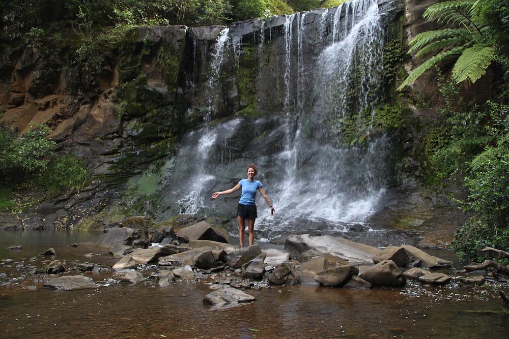 Erika Rodriguez enjoying the Mokoroa Falls
