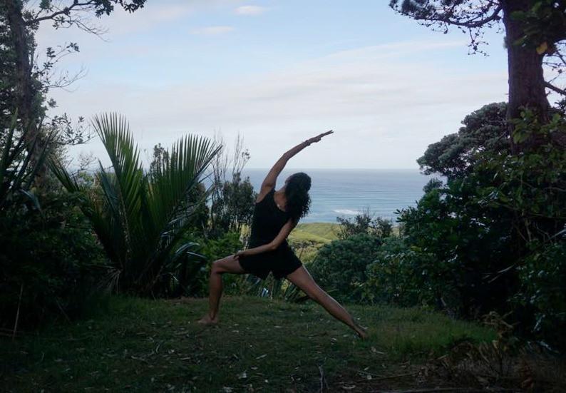 Erika Rodriguez practising yoga outdoors