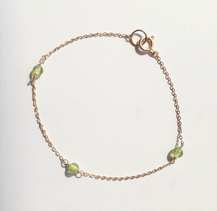 8月の新商品 Birth-stone Bracelet <Peridot>
