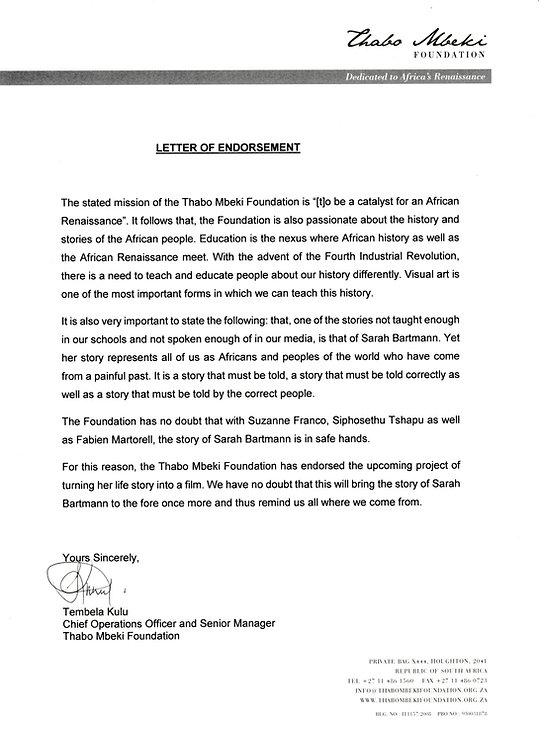 Thabo Mbeki Foundation Letter of Endorse