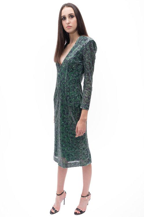 Cheetah Print Sequinned Midi Dress
