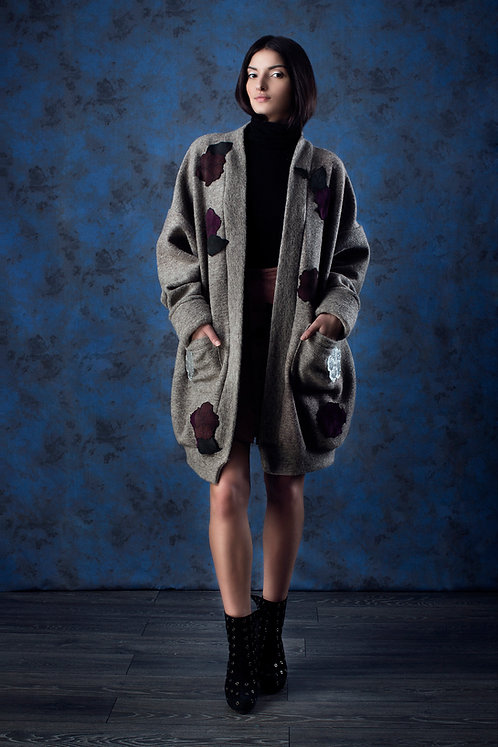 Leather Embellished Wool Knit Cardigan
