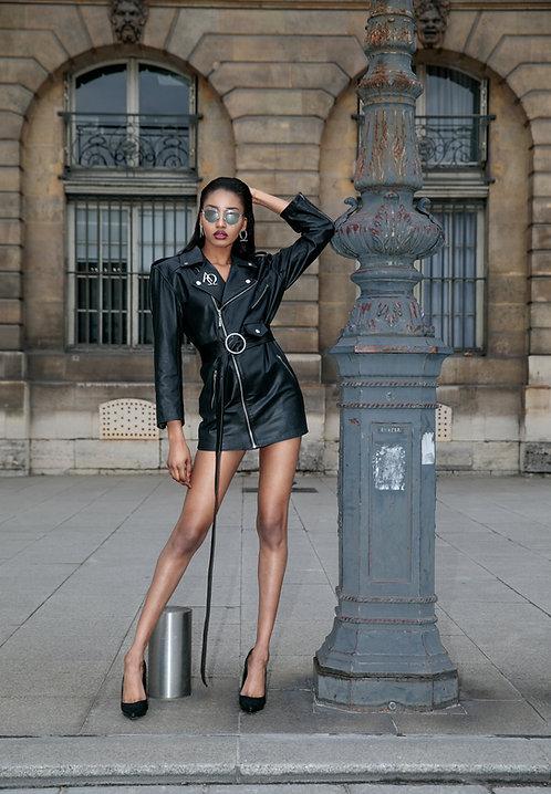 Leather Biker Mini Dress