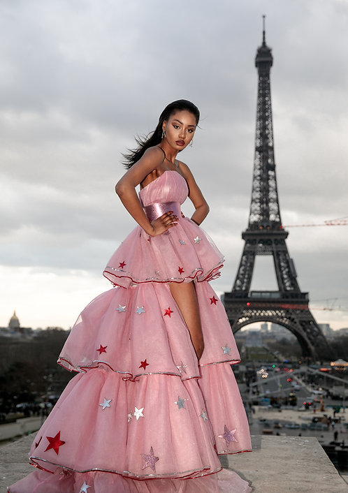 Corset Tulle Maxi Dress w/ Embellishments