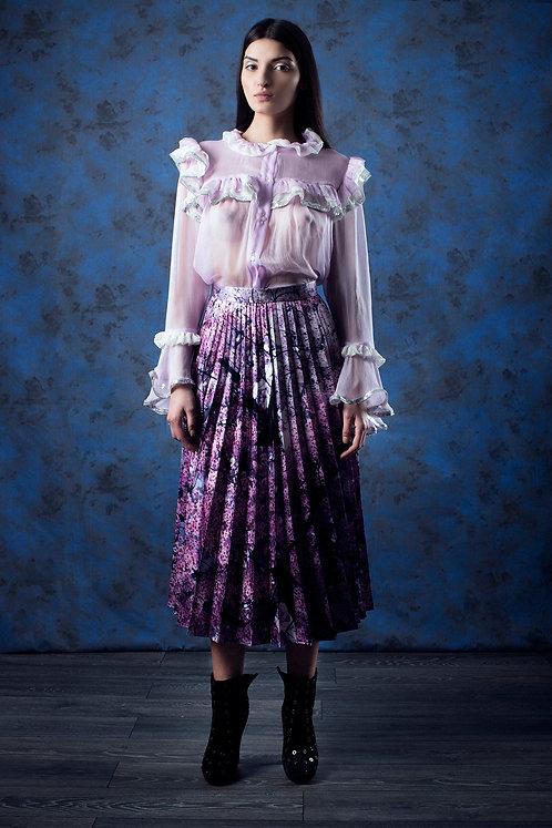 Digital Print Taffeta Pleated Skirt