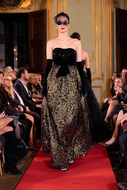 Velvet and Brocade Empire cut Gown