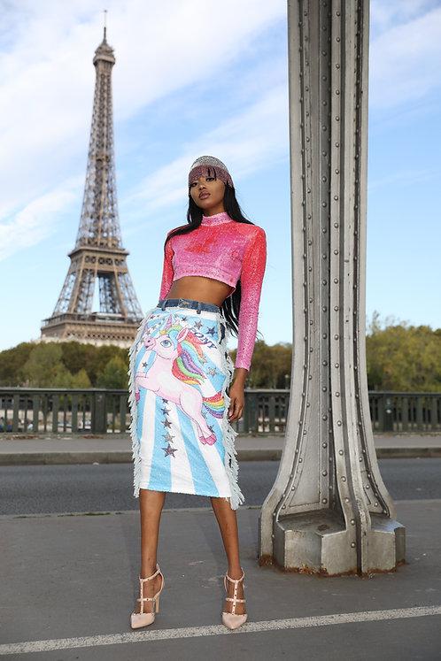 Digital Printed Sequins Skirt w/ Denim Detailing