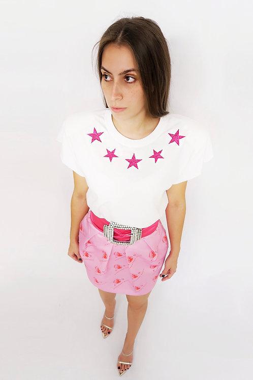 Pink Glitter Stars White T-shirt w/ Shoulder Pads