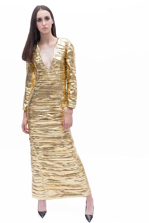 Metallic Ruched Maxi Dress