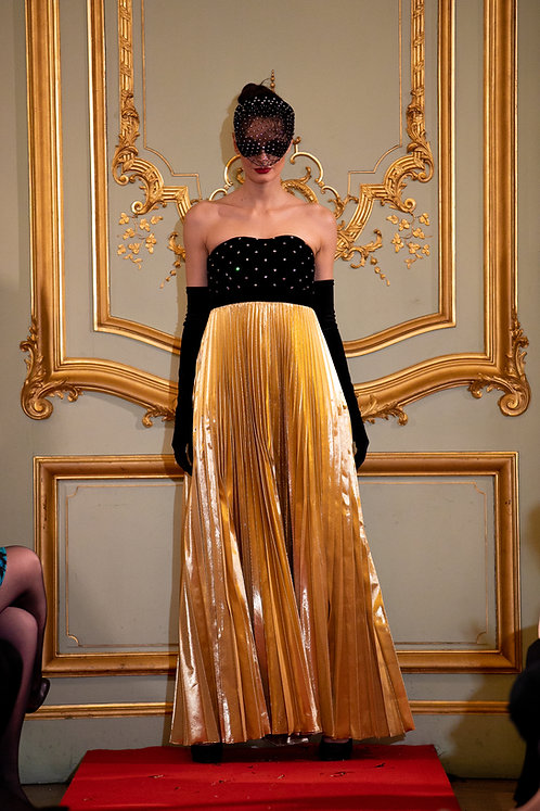 Velvet and Lame Empire Pleated Gown