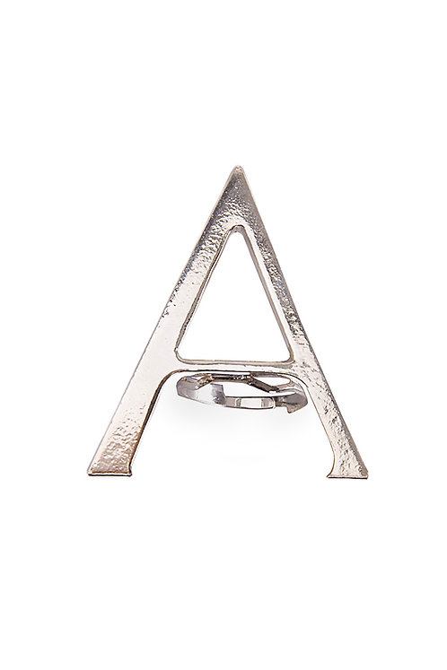 "The ""Alpha"" Logo Detail Silver Brass Ring"