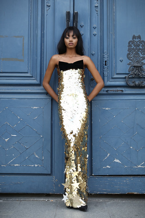 Sequinned Maxi Dress w/ embellishments