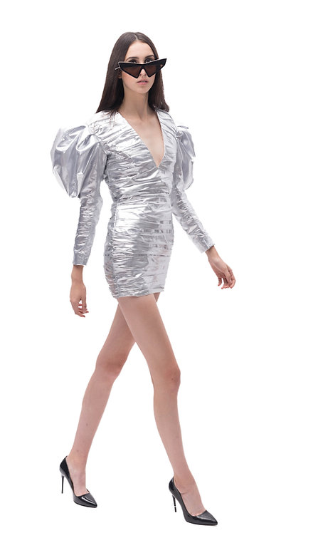 Metallic Mini Dress with Puffed Sleeves