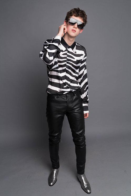 Zebra Print Satin Shirt