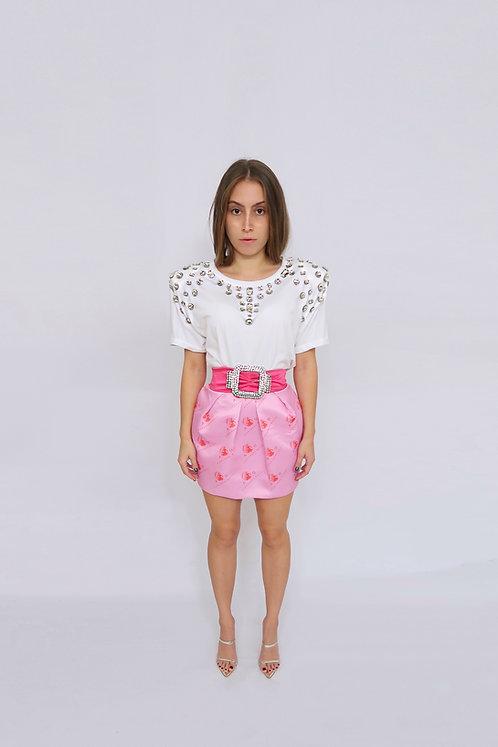 Crystal Embellished Oversized T-Shirt w/ Shoulder Pads