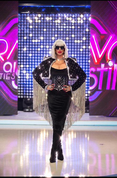 Velvet Crystal Studded Jacket w/ Crystal Fringes