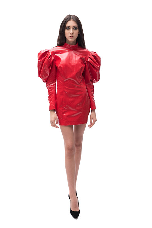 Vinyl Mini Dress w/ Puffed Sleeves
