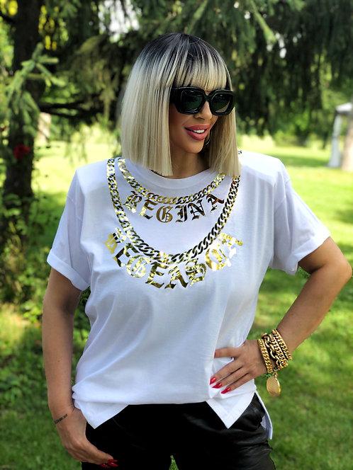 """Regina Regeasca"" White T-shirt w/ Shoulder Pads"