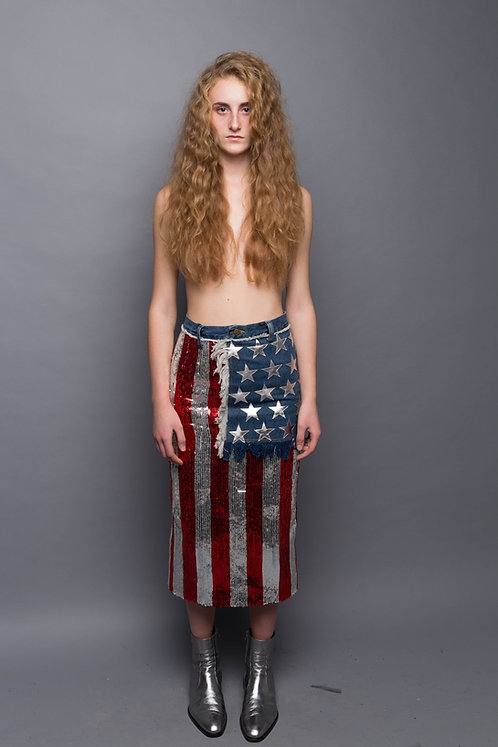 Sequinned USA Flag Midi Skirt w/ Denim and Leather Detailing