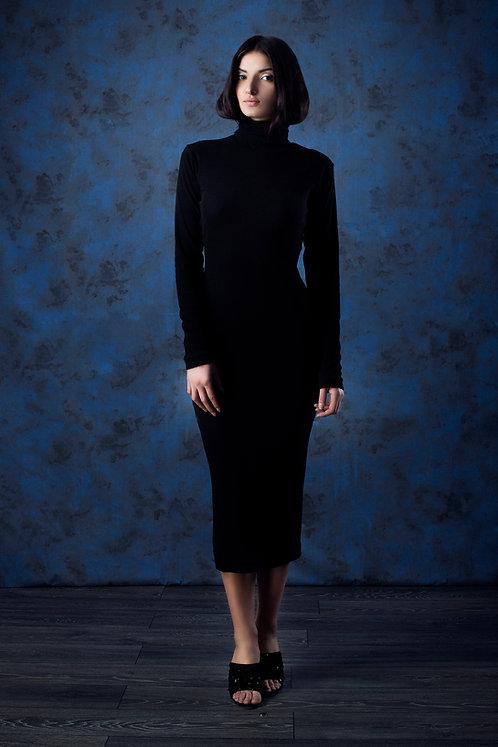 Ribbed Knit Turtleneck Midi Dress