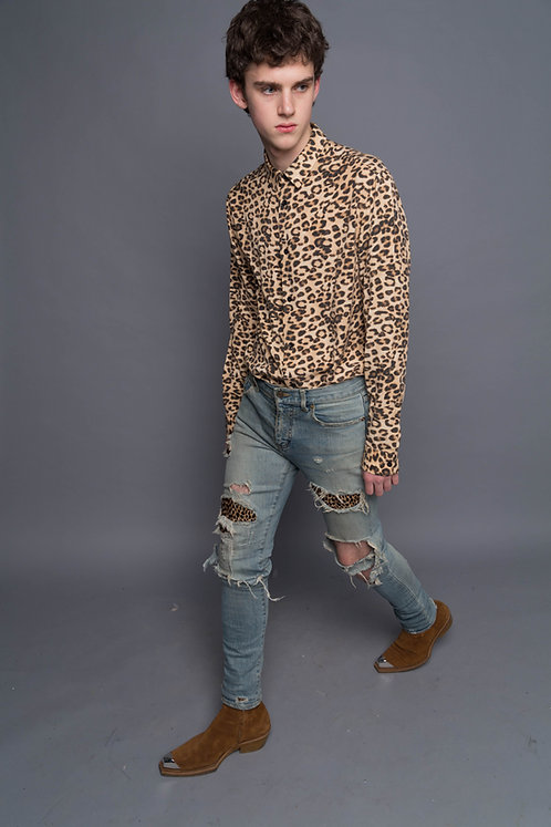 Cheetah Print Satin Shirt