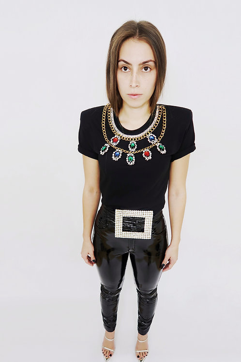 Black T-shirt w/ Crystals and Chains necklace